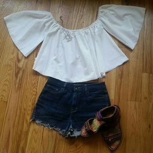 Tops - White off shoulder top, size M